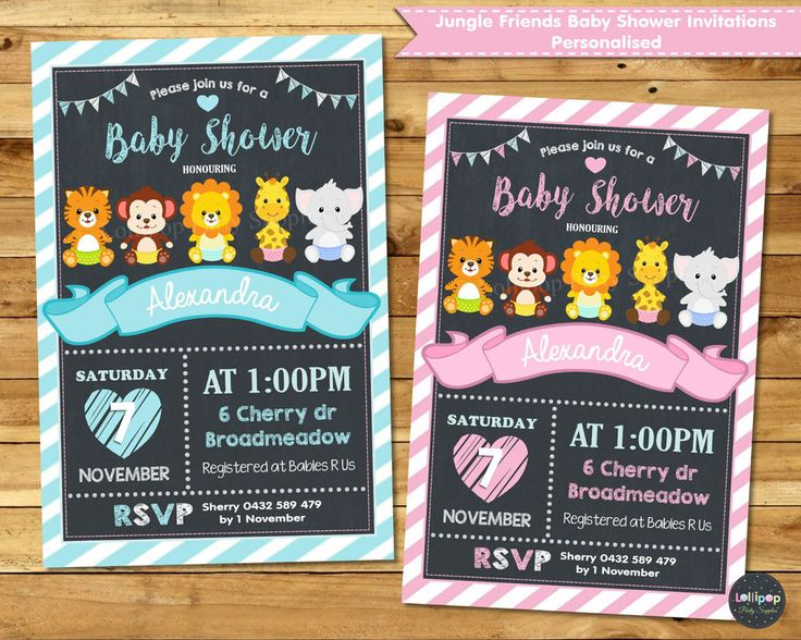 Jungle Animals Baby Shower Personalized Invitations for Baby Boy or Baby Girl - Digital or Printed - Ship Worldwide!  Visit www.lollipoppartysupplies.com.au
