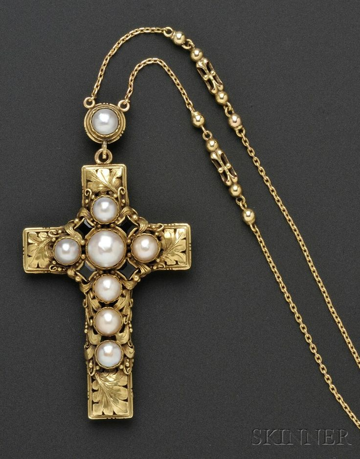 Arts & Crafts Gold, Opal, and Pearl Cross and Chain, Edward Oakes, c. 1930, set on one side with opals and circular-cut sapphires, and on th...