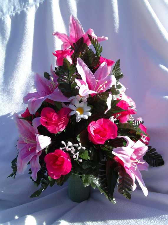 Pink Lily Pink Roses and White flowers with Green by CrazyboutDeco, $32.99