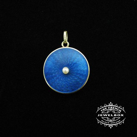 Yellow gold gulliche blue enamel locket with natural pearl.
