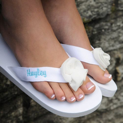 Personalized Flip Flop Wedding Party Black or White