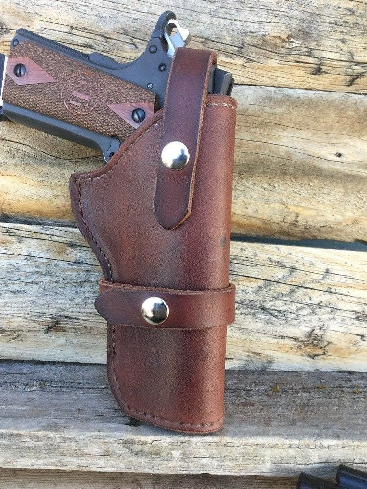 "LINED 1911 Holster For A 5"" 1911, Leather, Snap Retention, Wyoming Made (16)  