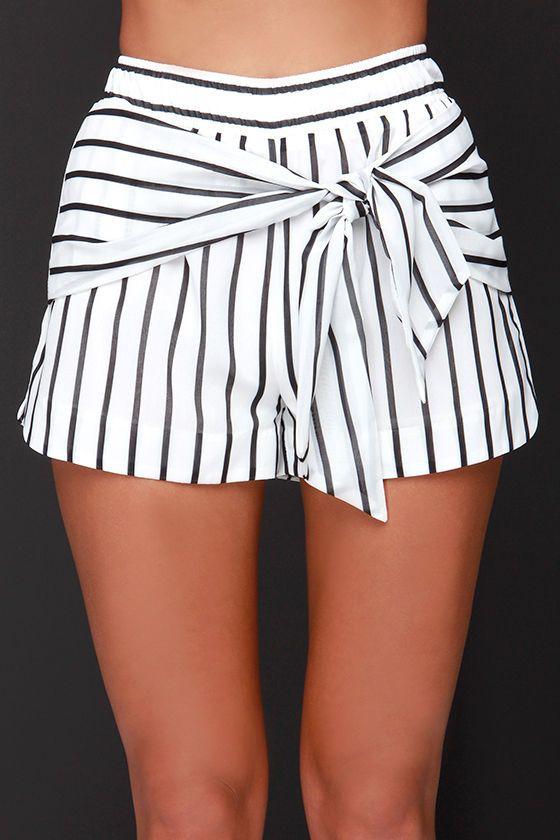 JOA Bayside Babe Ivory and Black Striped Shorts at Lulus.com!