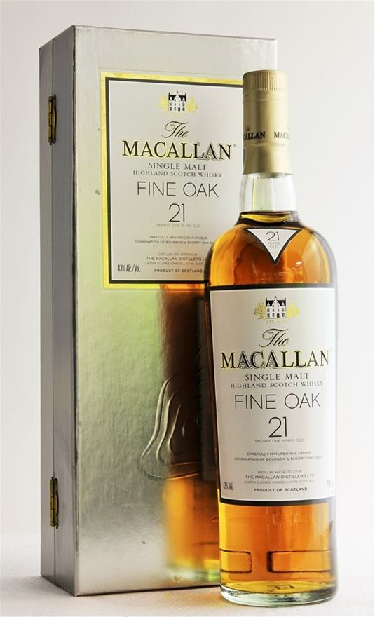 Macallan `Fine Oak 21YO` Highland Single Malt Scotch Whisky (1 x 700mL).