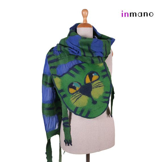 blue green curious cat scarf nuno felted silk eco wool by inmano