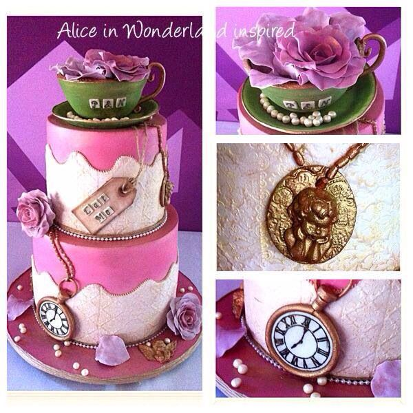 This design was based on another unknown cake decorators picture found online...I absolutely loved this wedding cake Inspired by Alice in Wonderland...