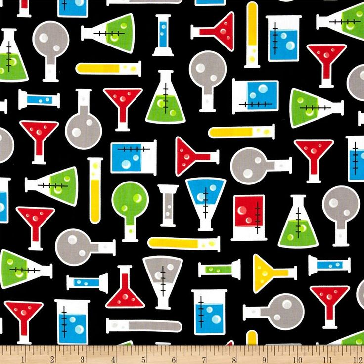 Science Fair Test Tubes Multi from @fabricdotcom  Designed by Rani Child for Robert Kaufman, this cotton print fabric is perfect for quilting, apparel and home decor accents. Colors include blue, red, green, yellow, black, white and grey.