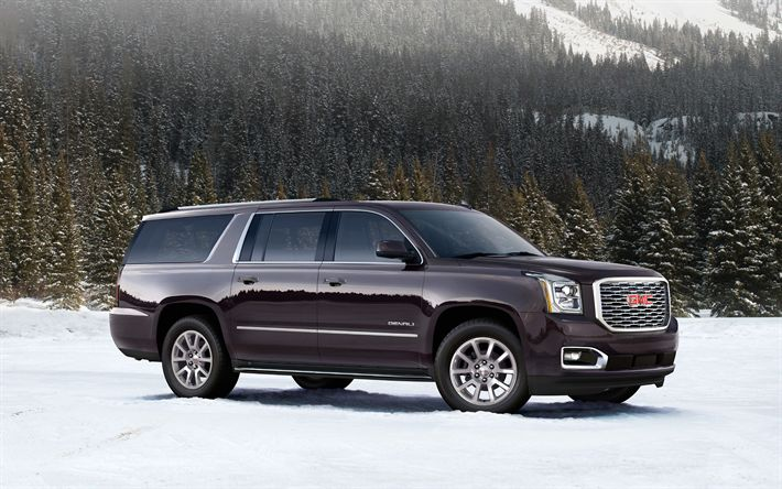 Download wallpapers GMC Sierra Denali, 2018, luxury SUV, burgundy, new cars, USA, winter, snow, mountain landscape, GMC