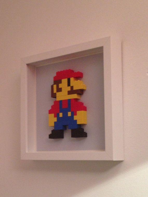 Framed Super Mario Lego Wall Art Such a simple but good idea.