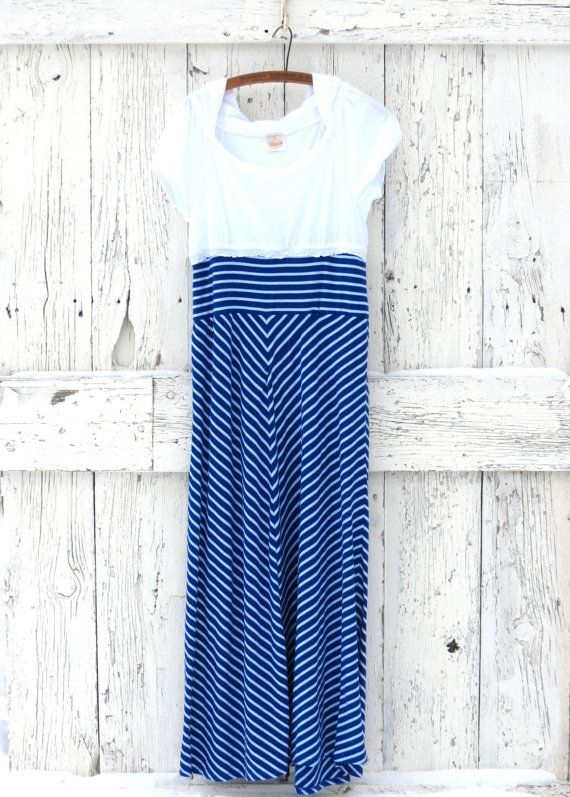 Eco Nautical Maxi Dress  Indie blue and white by wearlovenow, $55.00