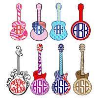 Guitar Monogram Svg Cuttable Frames | Apex Embroidery Designs, Monogram Fonts & Alphabets