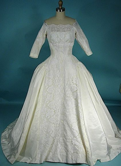 c. 1959 PRISCILLA OF BOSTON Huge Lighted Ivory Silk Taffeta Trained Hourglass Off-Shoulder Wedding Gown with Chantilly Lace and Panniers