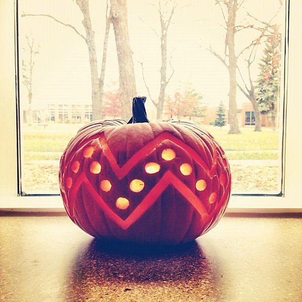 If you're obsessed with Chevron, there's no need to not use it for your Halloween decor. This pumpkin carving idea is totally stylish.