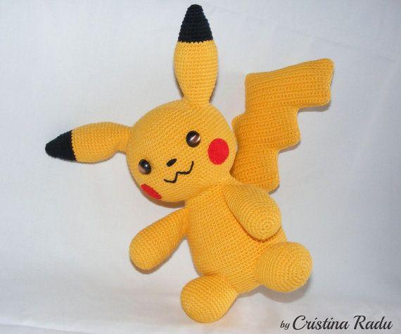 Pikachu pokemon, crochet pikachu, stuffed pokemon, amigurumi pikachu, collectible pokemon, yellow toy pikachu, children's gift, soft monster