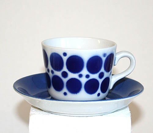 Arabia kaffekopp, blåprickig