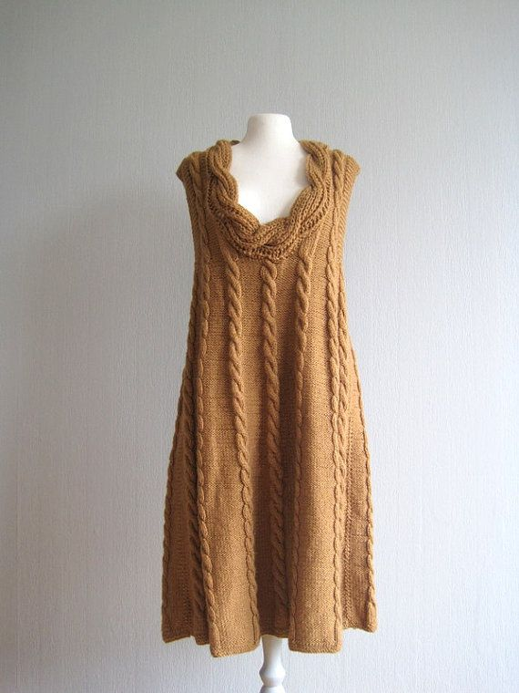 Dress knit handmade cableknit camel brown long by woolpleasure