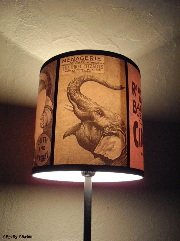 Circus Sideshow lamp shade Lampshade -lighting, drum lamp shade,circus decor,elephant lamp,burlesque decor,boho,bohemian decor,Spooky Shades by SpookyShades on Etsy https://www.etsy.com/listing/184645246/circus-sideshow-lamp-shade-lampshade