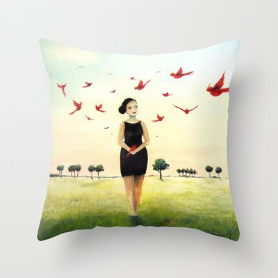 Spring carrier Throw Pillow by Malin Östlund - $20.00