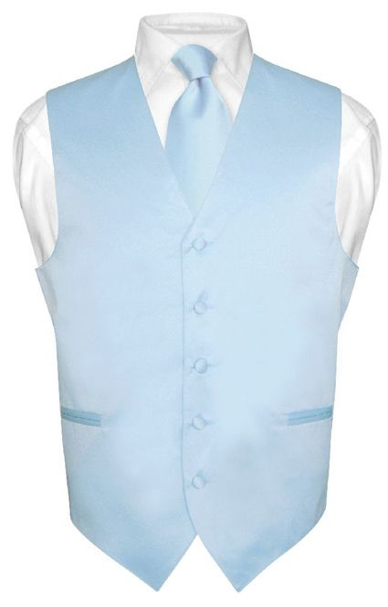 Men's BABY BLUE Tie Dress Vest and NeckTie Set for Suit or Tuxedo | eBay