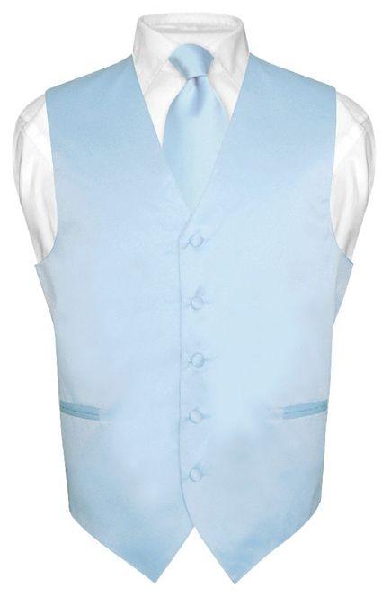 Men's BABY BLUE Tie Dress Vest and NeckTie Set for Suit or Tuxedo | eBay