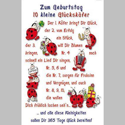 LUSTIGE Glückskäfer Klappkarte für Geburtstagswünsche, SET MIT UMSCHLAG, B6 - PORTOFREI möglich, personalisierbar, Hochformat 11,5x17,5cm veredelt mit Glückssymbol und Blindprägung
