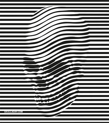 Lines that resemble a skull from a distance. I really like how it is done.