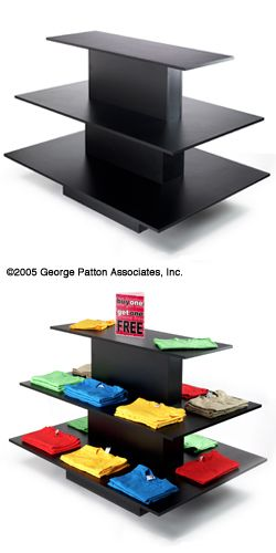 retail display table 3 tiered black melamine a rectangular retail display table features