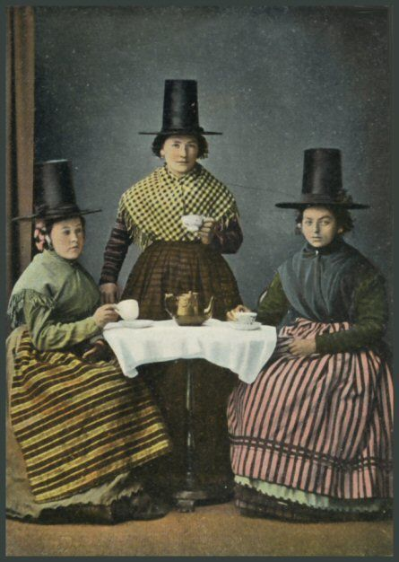 """Welsh Ladies having tea."" I didn't know the Welsh had a cultural costume. Or that it...looked like...that."