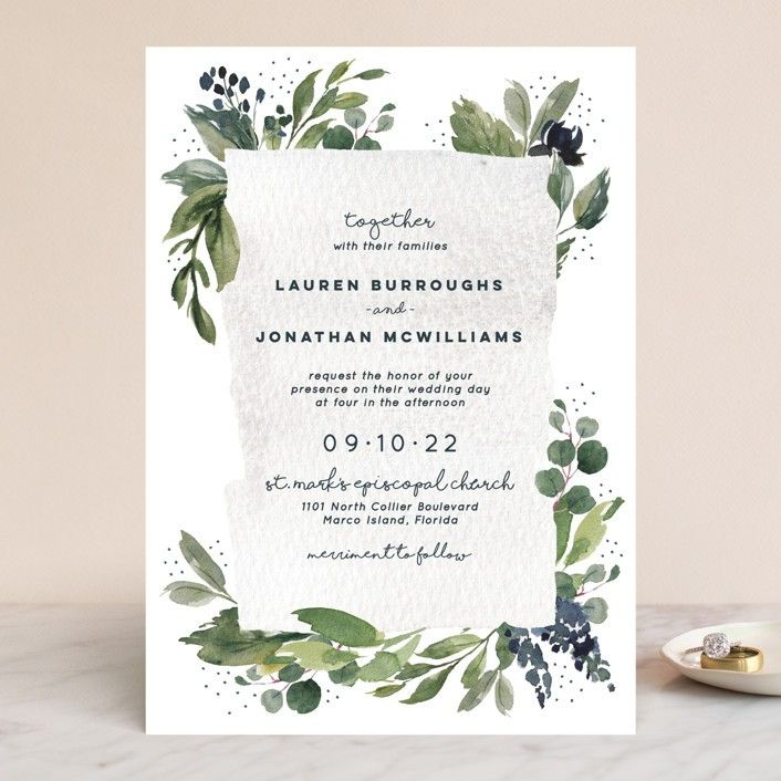 They Got Married Under An Epic Waterfall And Brought All Their G Botanical Wedding Invitations Customizable Wedding Invitations Eucalyptus Wedding Invitation