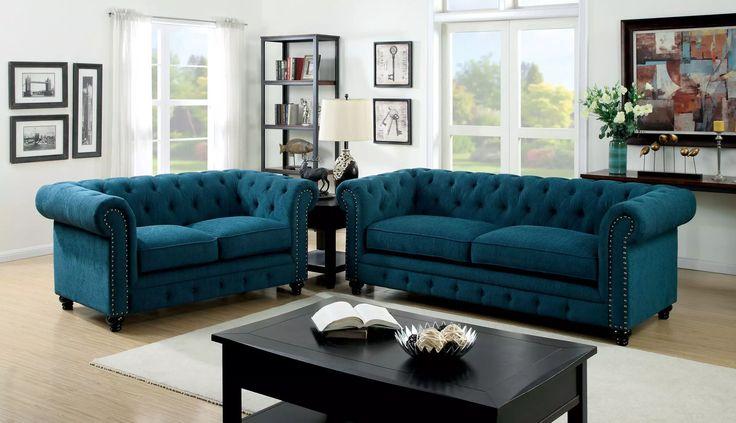 Furniture of America CM6269TL Stanford 2 PCs Dark Teal Fabric Sofa Set