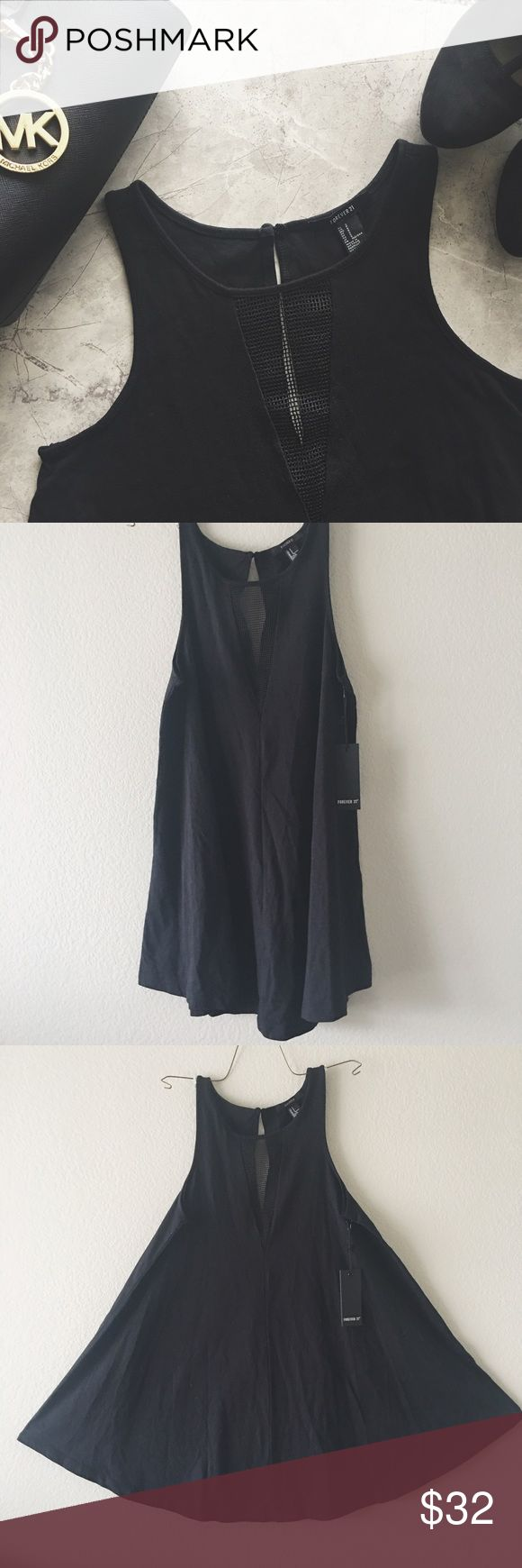 NWT Forever 21 deep V dress Deep V dress with a mess netting effect covering the V. Bottom of the dress makes a bell shape but falls just draping the body making it flowey:) Forever 21 Dresses Mini