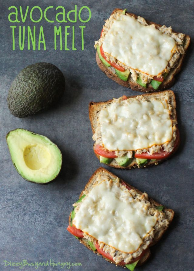 Avocado Tuna Melt   DizzyBusyandHungry.com - Avocado, tomato, tuna salad, and muenster cheese on crunchy toasted whole grain bread. #tunamelt #lunchrecipes #avocado
