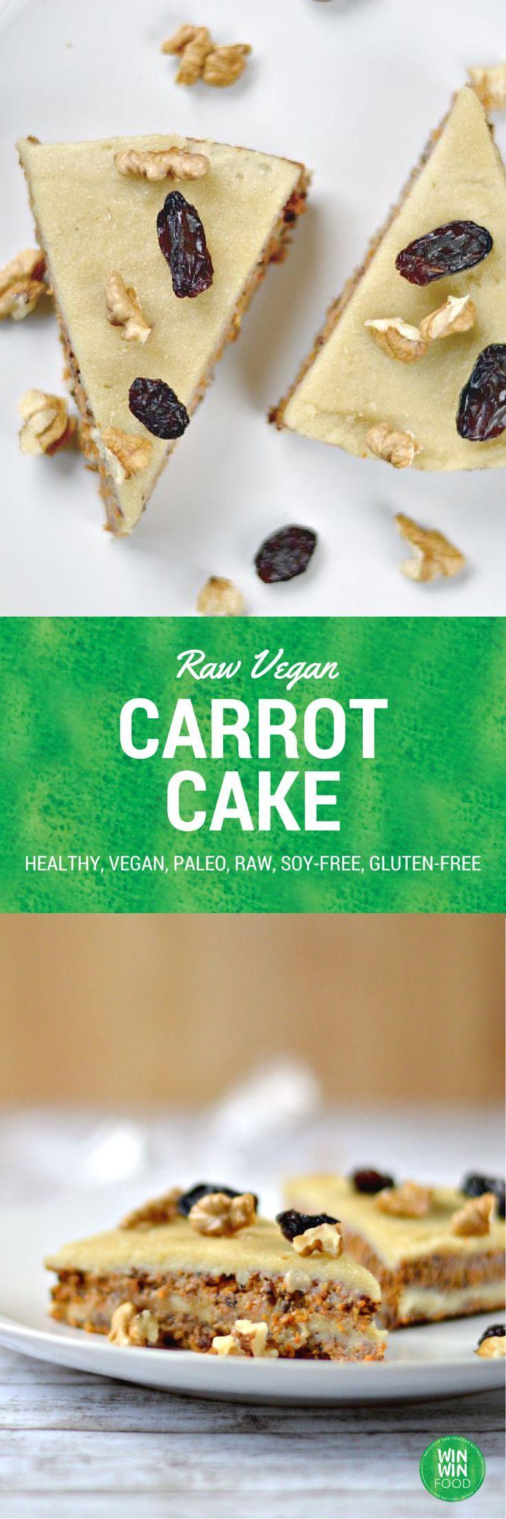 """Raw Vegan Carrot Cake: ⅔ T (80 g) Walnüsse      1 und ⅓ T (220g) Rosinen      5-(300g) Karotten, geschält u. grob gehackt  ,½ -1TL Zimt       2 EL (15 ml) Kokosöl      1 TL Vanilleextrakt      1 T rohe Frosting (1 1/2 T Cashewnüsse 1/2 T Wasser 3 EL Kokosöl 2 EL Honig 1 EL reiner Vanille-Extrakt 1/4 Teelöffel Meersalz Sie mögen :)1hKühlen!)   Anleitung:außer für die Glasur in einem Mixer, bis die Mischung kompakt und hält zusammen. Schichten:1/2 """"Teig"""",1/2 Glasur.      Wiederholen, kühlen."""