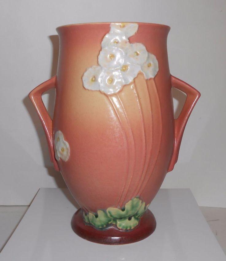 """Roseville Pottery Primrose Pink Vase 9"""" 1932-1936"""