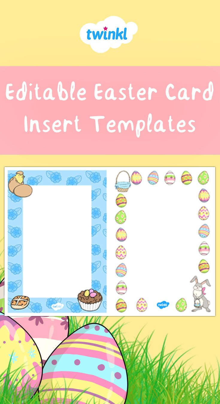 Editable Easter Card Insert Template Easter Cards Personalized Easter Cards