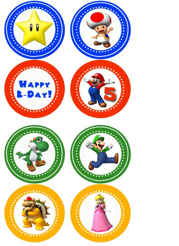 Mario Cupcake Toppers! By Jewell and Me :)   Mario Party ...