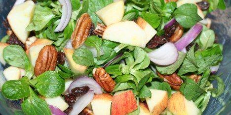 """""""Den let bitre salat går super fint i spænd med de søde æbler og rosiner, de sprøde nødder og den syrlige citron""""."""
