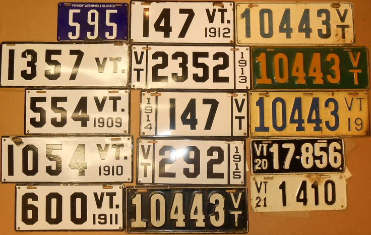 Ninety nine VT plates from 1905 Auto Register to 1991 - Realized Price: $10,350.00