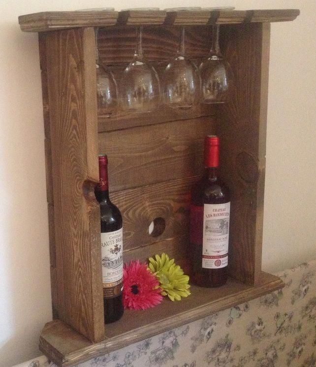 Wine Rack And Glass Holder Upcycled Pallet Wood 45 00