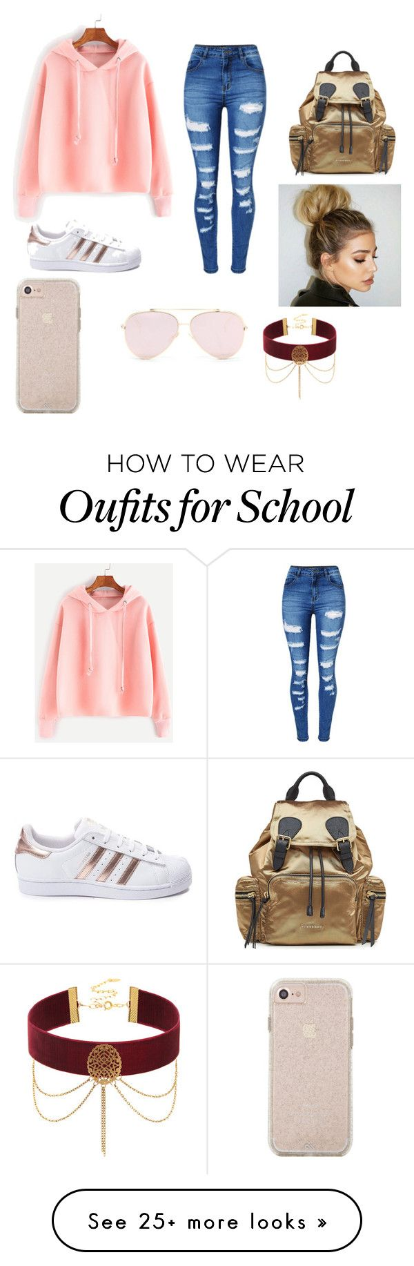 PRETTY PETTY SCHOOL GILR by lebraladee2383 on Polyvore featuring WithChic, adidas and Burberry