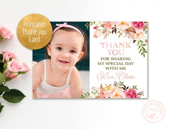 Photo Thank You Card Pink Flowers Birthday Decor Custom Thank You Card Watercolor Flo Photo Thank You Cards Custom Thank You Cards Printable Thank You Cards