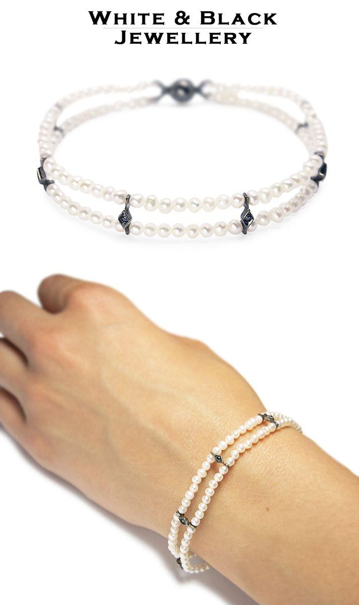 Dupla soros gyöngykarkötő fekete gyémántokkal foglalt arany díszekkel - Double pearl bracelet with gold decorations set with black diamonds