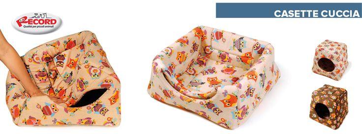 Casette/Cuccette per cani Recordit, con simpatiche fantasie a gufi. www.recordit.com/