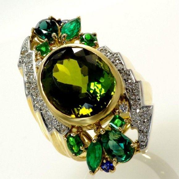 【中古】K18 Pt900 トルマリン リング/新品同様・極美品・美品の中古ブランド時計を格安で提供いたします。