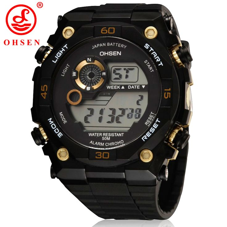 Top Sale Brand OHSEN Men Hombre LED Digital Sport Watch Wristwatch Male 50M Waterproof Rubber Band Gold Fashion Clock Relog Gift //Price: $18.00 & FREE Shipping //     #HALOWEEN