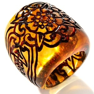 Age of Amber Large Handcarved Amber Ring at HSN.com.
