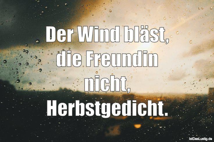 Der Wind bläst, die Freundin nicht, Herbstgedicht. ... gefunden auf https://www.istdaslustig.de/spruch/3294 #lustig #sprüche #fun #spass