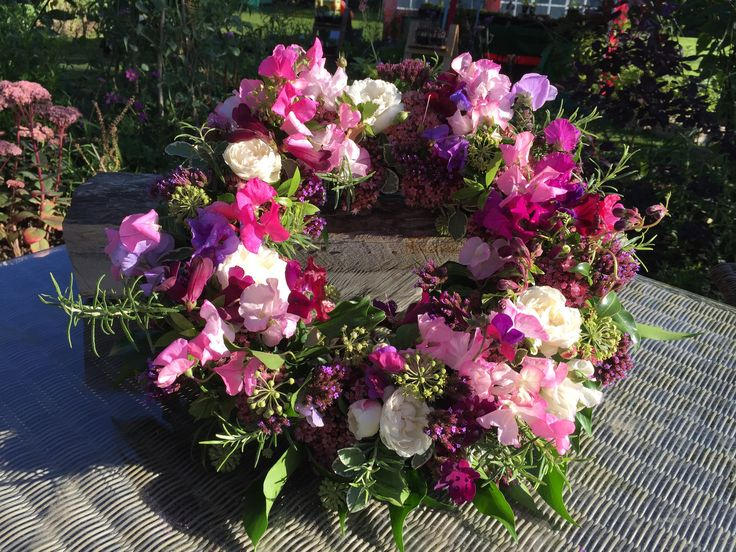 Wreath ring, British flowers, All homegrown in our cottage garden. Sweetpeas. David Austin roses .