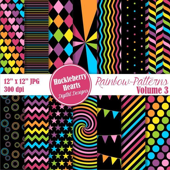 80% OFF SALE Rainbow Patterns Digital by HuckleberryHearts on Etsy
