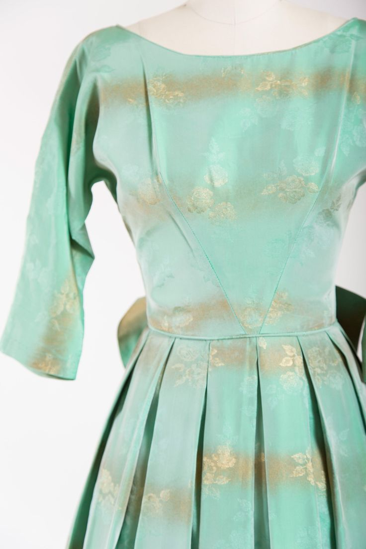 1950s Vintage Party Dress. Made Of A Mint Green Floral Jacquard With  Striped Gold Accents